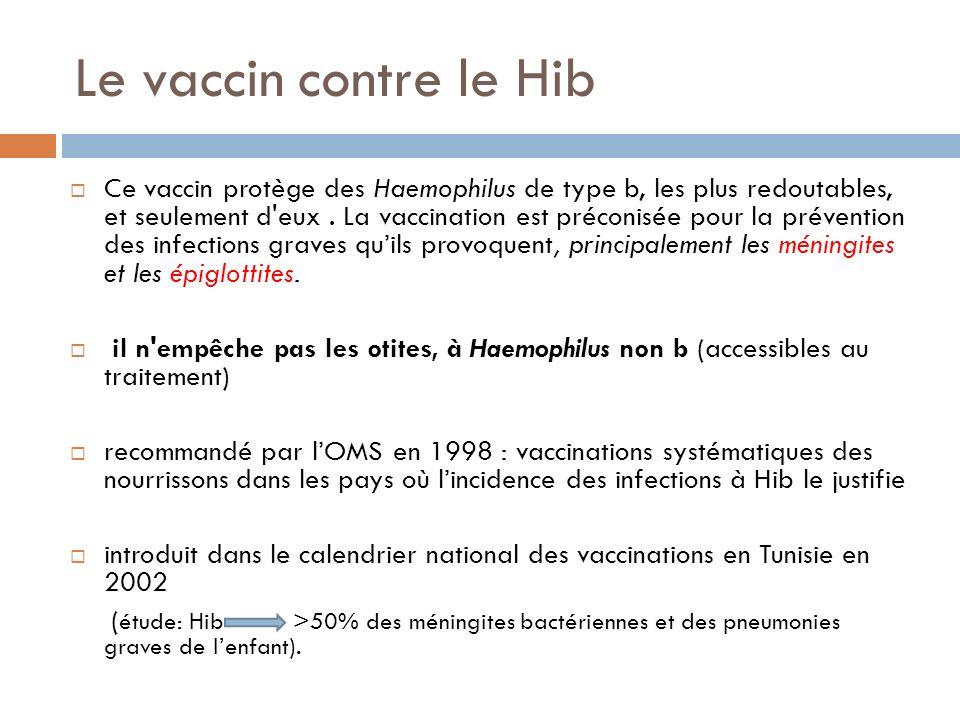 Le vaccin contre le Hib Ce vaccin protège des Haemophilus de type b, les plus redoutables, et seulement d eux.