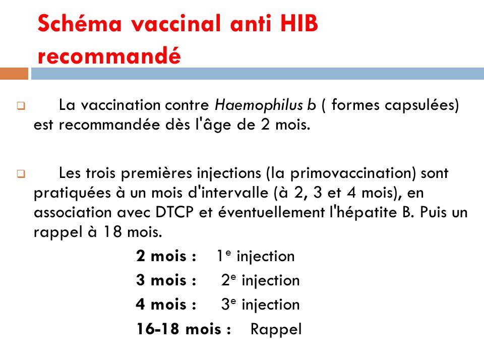 Schéma vaccinal anti HIB recommandé La vaccination contre Haemophilus b ( formes capsulées) est recommandée dès l âge de 2 mois.