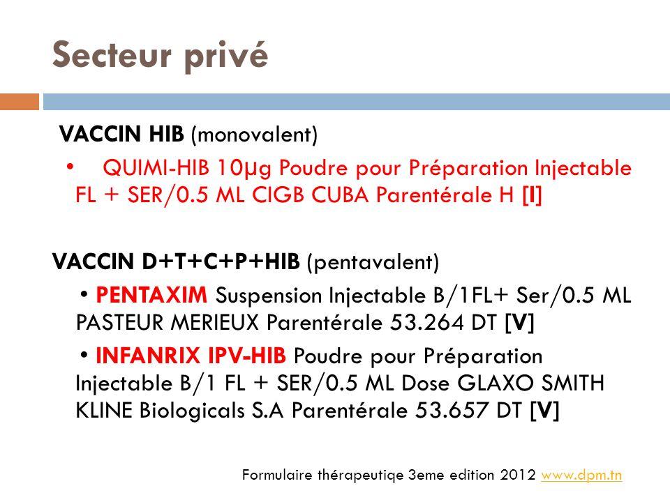 Secteur privé VACCIN HIB (monovalent) QUIMI-HIB 10 μ g Poudre pour Préparation Injectable FL + SER/0.5 ML CIGB CUBA Parentérale H [I] VACCIN D+T+C+P+HIB (pentavalent) PENTAXIM Suspension Injectable B/1FL+ Ser/0.5 ML PASTEUR MERIEUX Parentérale 53.264 DT [V] INFANRIX IPV-HIB Poudre pour Préparation Injectable B/1 FL + SER/0.5 ML Dose GLAXO SMITH KLINE Biologicals S.A Parentérale 53.657 DT [V] Formulaire thérapeutiqe 3eme edition 2012 www.dpm.tnwww.dpm.tn