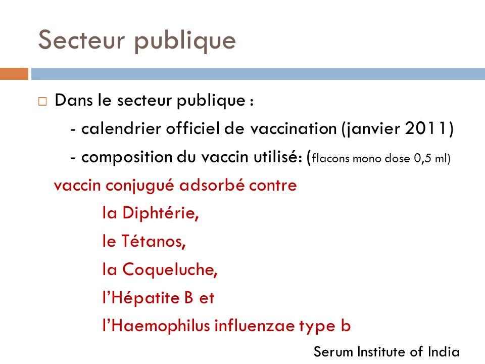 Secteur publique Dans le secteur publique : - calendrier officiel de vaccination (janvier 2011) - composition du vaccin utilisé: ( flacons mono dose 0,5 ml) vaccin conjugué adsorbé contre la Diphtérie, le Tétanos, la Coqueluche, lHépatite B et lHaemophilus influenzae type b Serum Institute of India