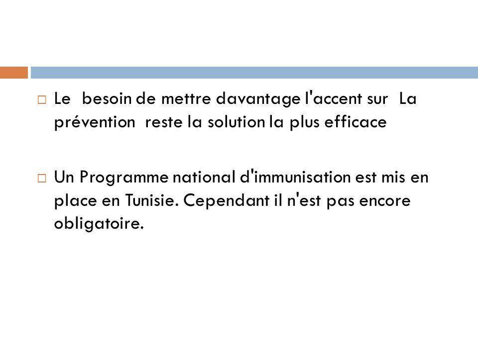 Le besoin de mettre davantage l accent sur La prévention reste la solution la plus efficace Un Programme national d immunisation est mis en place en Tunisie.