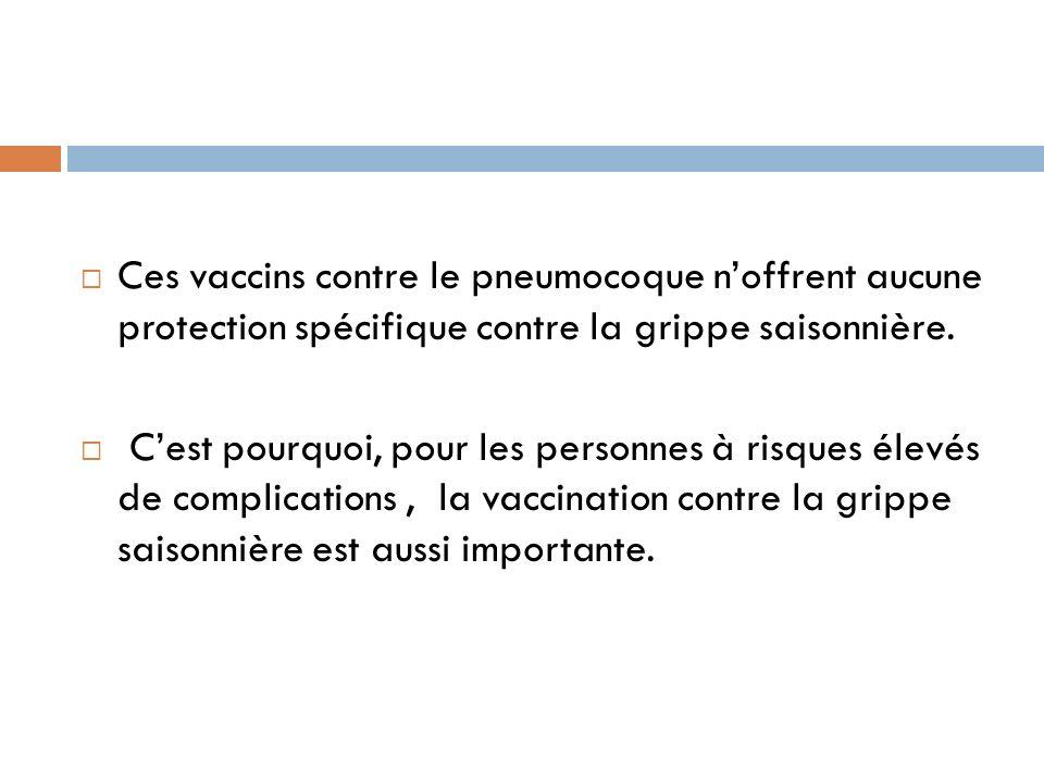 Ces vaccins contre le pneumocoque noffrent aucune protection spécifique contre la grippe saisonnière.