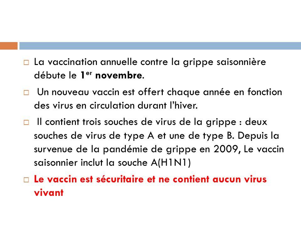 La vaccination annuelle contre la grippe saisonnière débute le 1 er novembre.