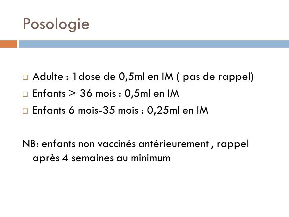 Posologie Adulte : 1dose de 0,5ml en IM ( pas de rappel) Enfants > 36 mois : 0,5ml en IM Enfants 6 mois-35 mois : 0,25ml en IM NB: enfants non vaccinés antérieurement, rappel après 4 semaines au minimum