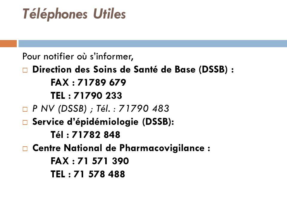 Téléphones Utiles Pour notifier où sinformer, Direction des Soins de Santé de Base (DSSB) : FAX : 71789 679 TEL : 71790 233 P NV (DSSB) ; Tél.