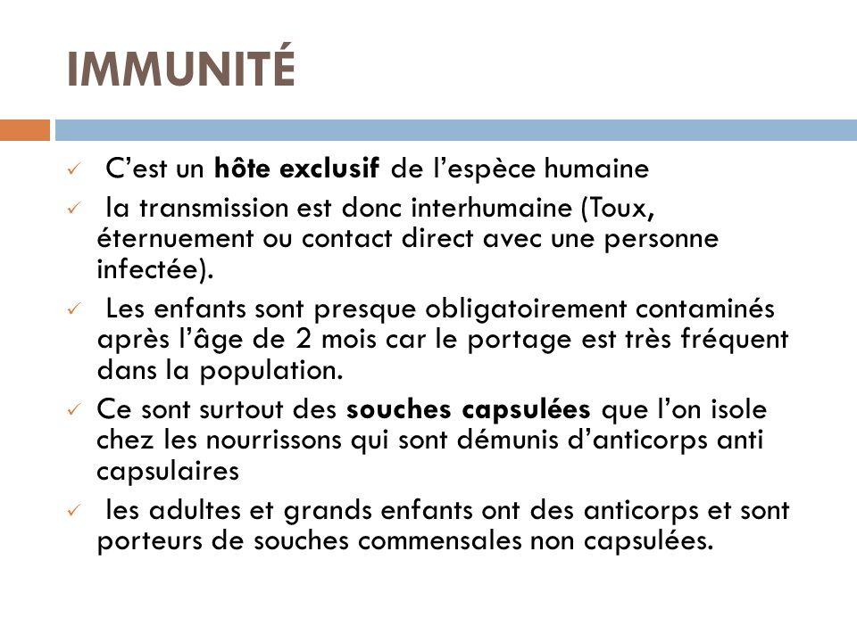 IMMUNITÉ Cest un hôte exclusif de lespèce humaine la transmission est donc interhumaine (Toux, éternuement ou contact direct avec une personne infectée).