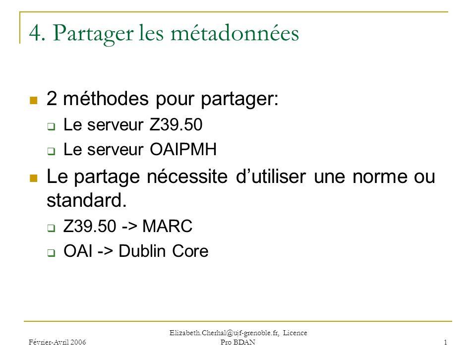 Février-Avril 2006 Elizabeth.Cherhal@ujf-grenoble.fr, Licence Pro BDAN 1 4.