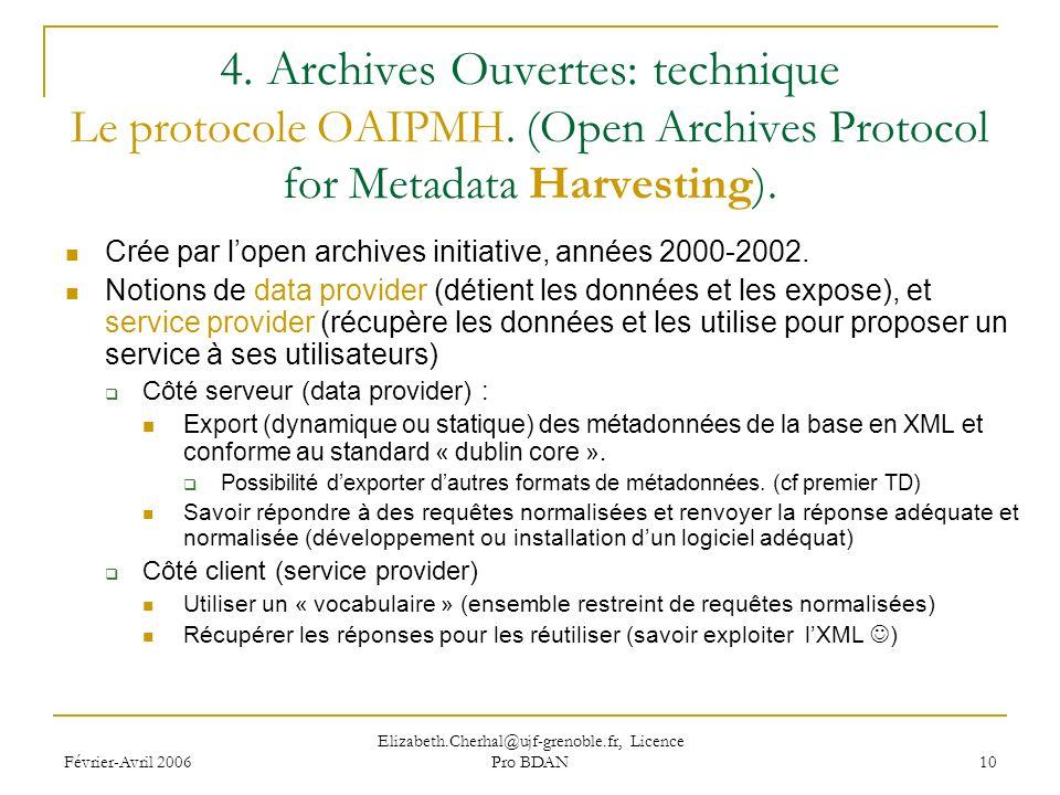 Février-Avril 2006 Elizabeth.Cherhal@ujf-grenoble.fr, Licence Pro BDAN 10 4.