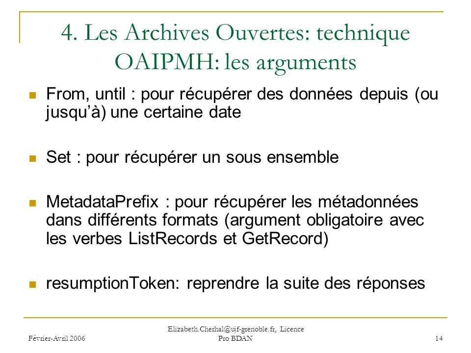 Février-Avril 2006 Elizabeth.Cherhal@ujf-grenoble.fr, Licence Pro BDAN 14 4.