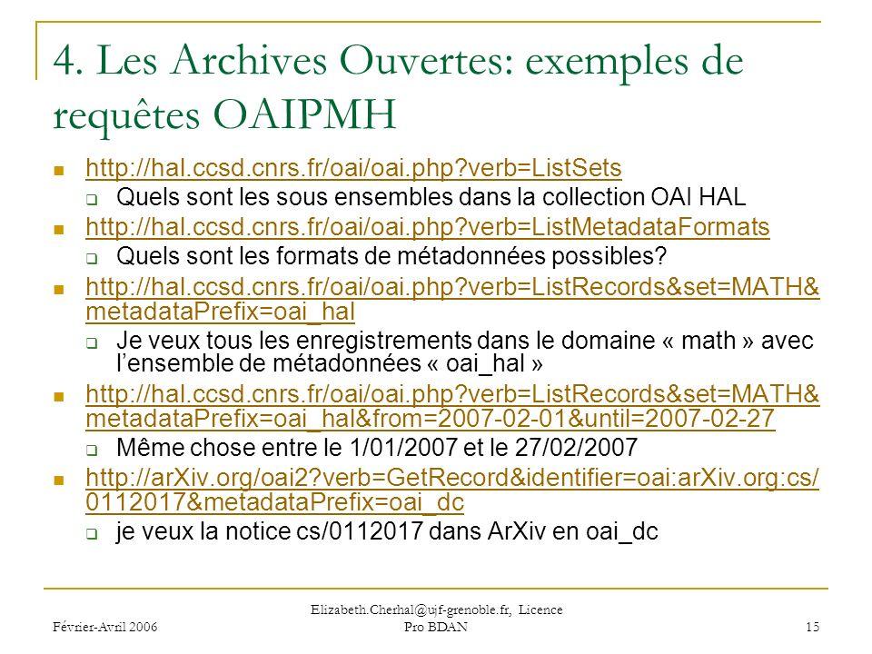 Février-Avril 2006 Elizabeth.Cherhal@ujf-grenoble.fr, Licence Pro BDAN 15 4.