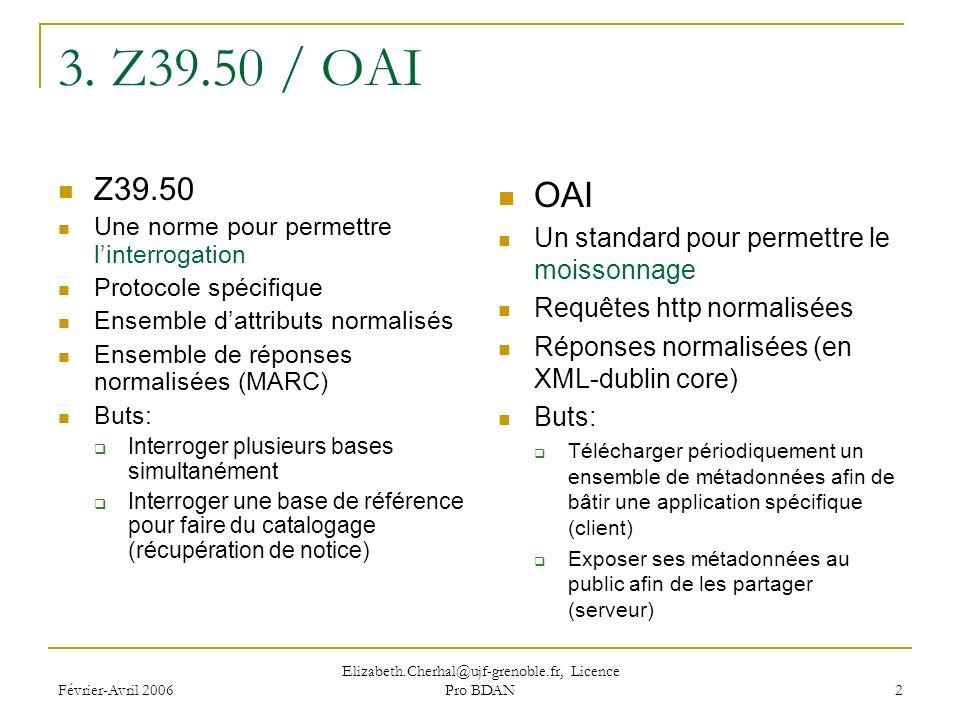 Février-Avril 2006 Elizabeth.Cherhal@ujf-grenoble.fr, Licence Pro BDAN 2 3.
