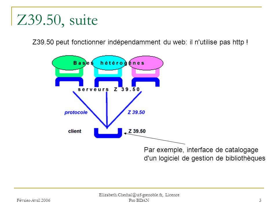 Février-Avril 2006 Elizabeth.Cherhal@ujf-grenoble.fr, Licence Pro BDAN 3 Z39.50, suite Z39.50 peut fonctionner indépendamment du web: il n utilise pas http .