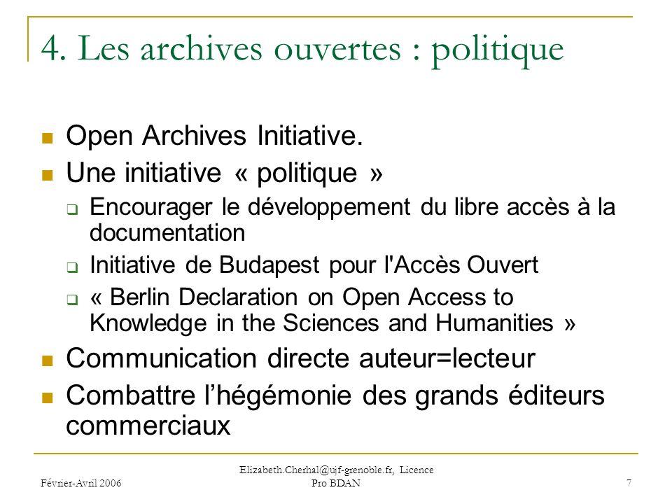 Février-Avril 2006 Elizabeth.Cherhal@ujf-grenoble.fr, Licence Pro BDAN 7 4.