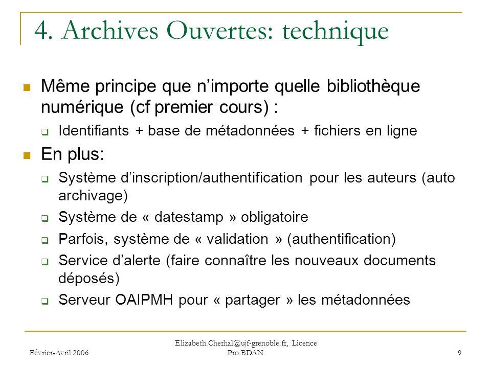 Février-Avril 2006 Elizabeth.Cherhal@ujf-grenoble.fr, Licence Pro BDAN 9 4.