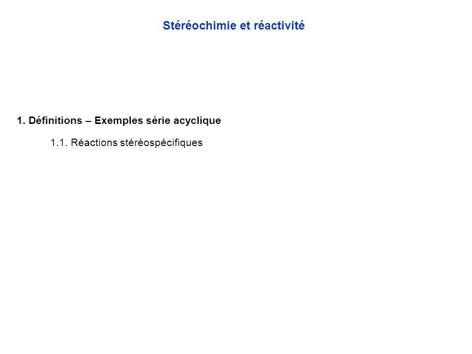 1.Définitions - Rappels Chapitre 3 - Stéréochimie et réactivité 2.