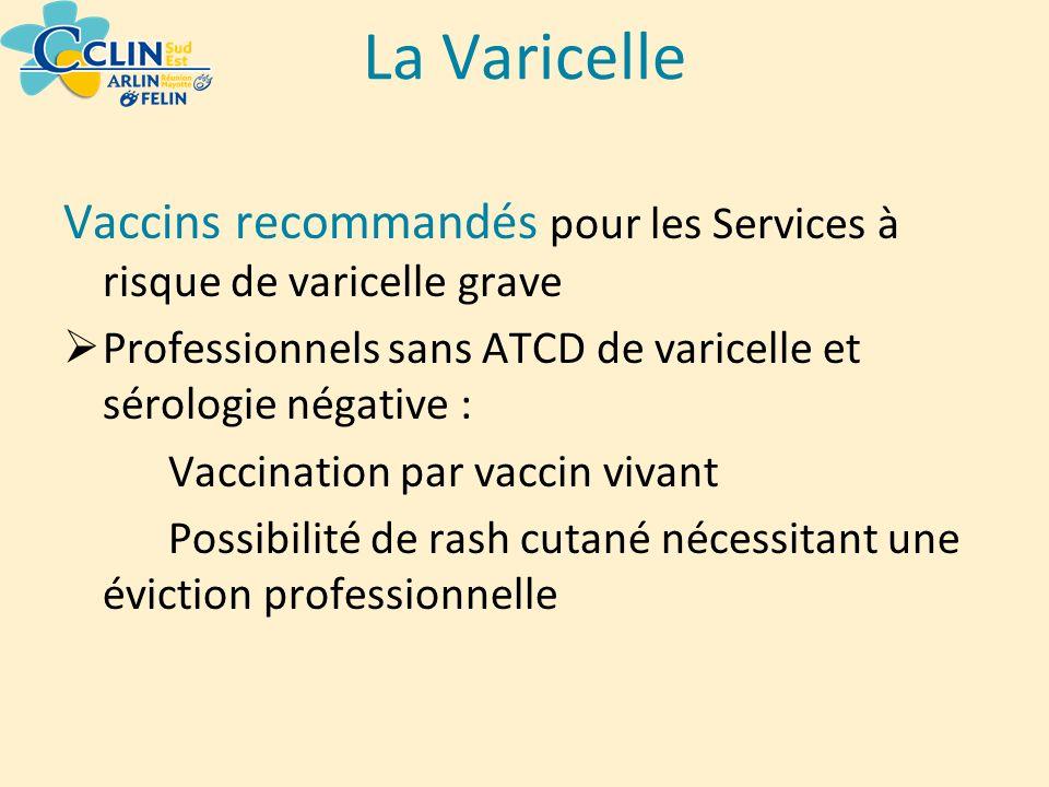 La Varicelle Vaccins recommandés pour les Services à risque de varicelle grave Professionnels sans ATCD de varicelle et sérologie négative : Vaccinati
