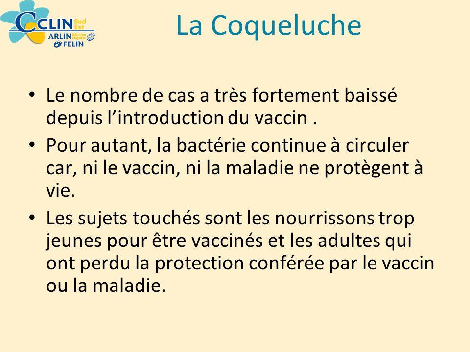 La Coqueluche Le nombre de cas a très fortement baissé depuis lintroduction du vaccin. Pour autant, la bactérie continue à circuler car, ni le vaccin,