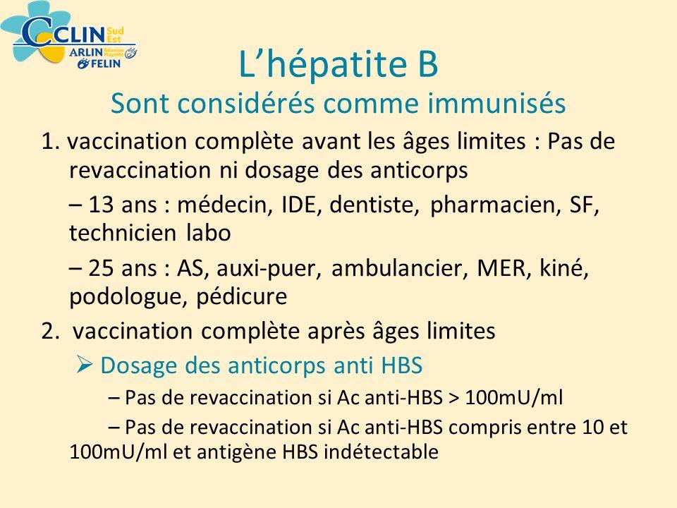 Lhépatite B Sont considérés comme immunisés 1. vaccination complète avant les âges limites : Pas de revaccination ni dosage des anticorps – 13 ans : m