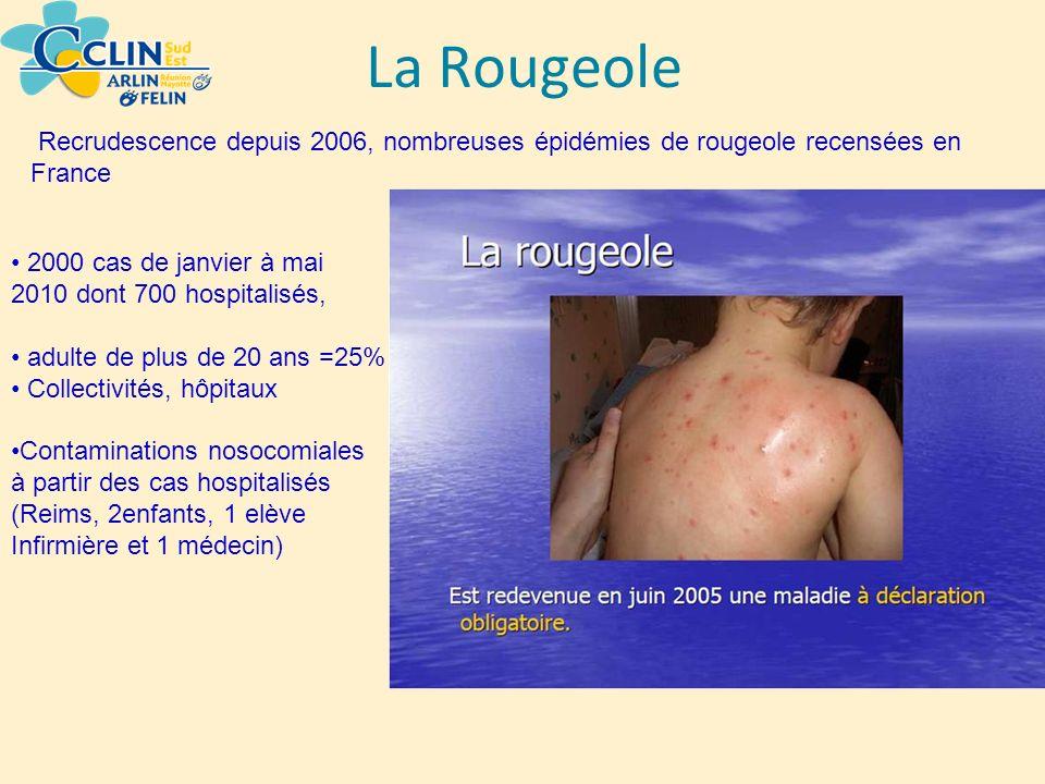 La Rougeole Recrudescence depuis 2006, nombreuses épidémies de rougeole recensées en France 2000 cas de janvier à mai 2010 dont 700 hospitalisés, adul