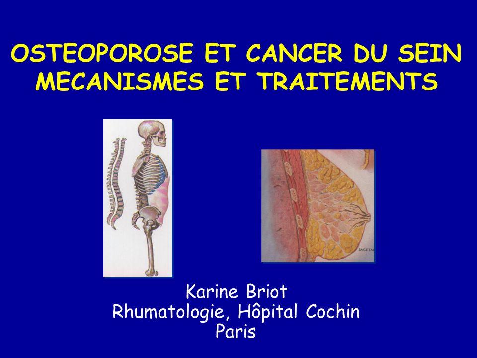 N Bouffées de chaleur (%) Saignements (%) Cancer de l endomètre (%) AVC (%) Accident Thrombo-embolique (%) Affections musculosquelettiques (%) 3 092 35,75.40,22,02,846.6 AnastrozoleTamoxifène < 0,0004 3 094 40.910.20,80.5-0.9 Lancet 2004 < 0,0001 0,020,03 ATAC - EFFETS SECONDAIRES 5 ans 4.5 4.5 37.1 <0.0001