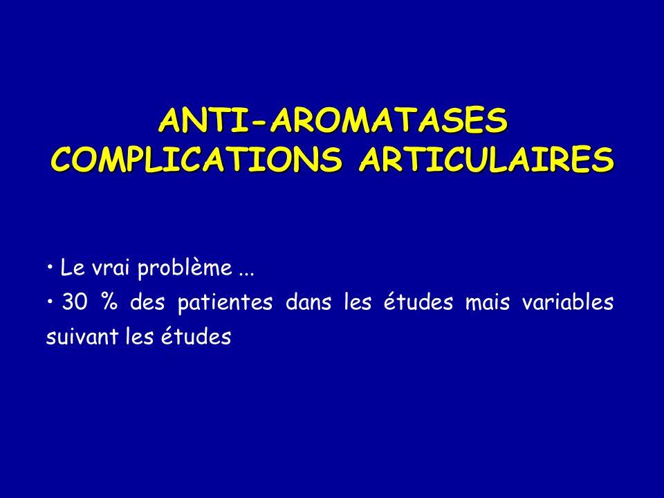 ANTI-AROMATASES COMPLICATIONS ARTICULAIRES Le vrai problème... 30 % des patientes dans les études mais variables suivant les études
