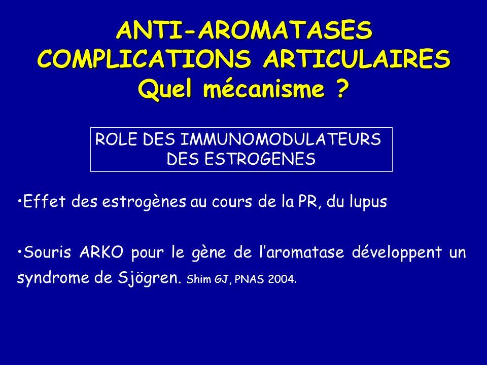 ANTI-AROMATASES COMPLICATIONS ARTICULAIRES Quel mécanisme ? ROLE DES IMMUNOMODULATEURS DES ESTROGENES Effet des estrogènes au cours de la PR, du lupus