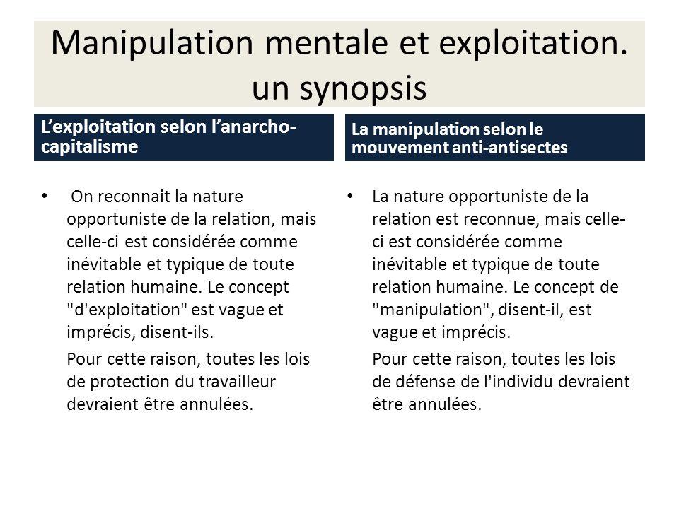 Manipulation mentale et exploitation. un synopsis Lexploitation selon lanarcho- capitalisme On reconnait la nature opportuniste de la relation, mais c