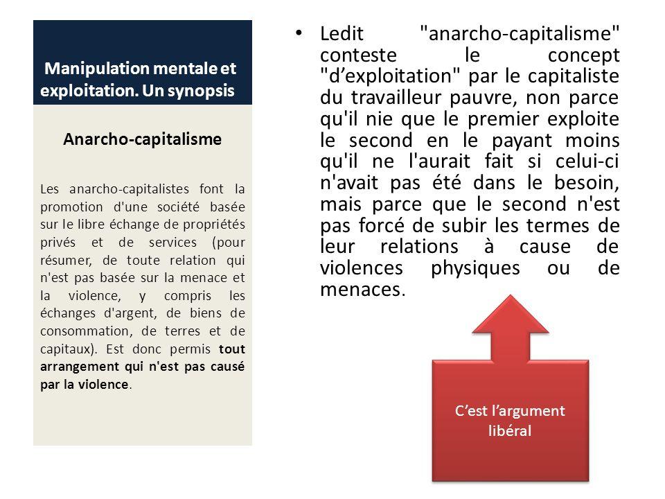 Manipulation mentale et exploitation. Un synopsis Anarcho-capitalisme Les anarcho-capitalistes font la promotion d'une société basée sur le libre écha