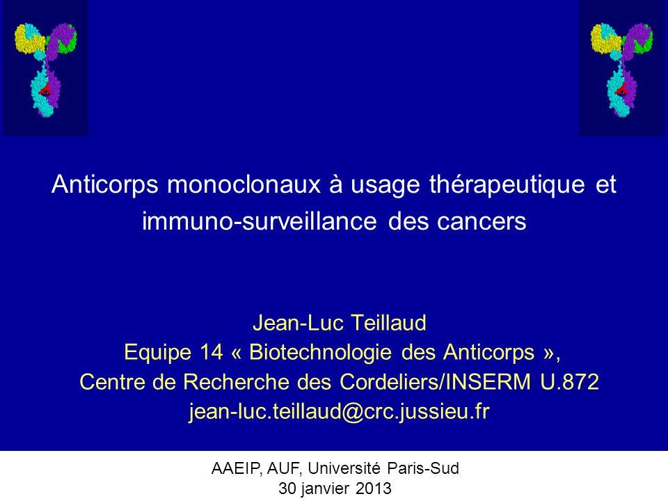AAEIP, AUF, Université Paris-Sud 30 janvier 2013 Les AcM utilisés en oncologie et dans le traitement des maladies auto-immunes/inflammatoires (FDA+EMEA+ Chine) Parmi les 27 AcM qui sont sur le marché et qui ont généré des revenus de près de quarante cinq milliards dEuros en 2012: -10 AcM sont utilisés pour le traitement de maladies inflammatoires/auto-immunes (anti-TNFalpha (4), anti-BLyS (1), anti- CD20 (1), anti-intégrine 4 (1), anti-IL-6-R (1), anti-IL12/23 (1), anti-IL- 1beta (1) -16 AcM sont utilisés en oncologie* (anti-CD20 (4), anti-HER2/neu (2), anti-EGFR (3), anti-CD52 (1), anti-CD147 (1), anti-VEGF (1), anti- Epcam (2, incluant un Ac bispécifique anti-Epcam x anti-CD3), anti- CTLA-4 (1), anti-CCR4 (1) * Le gemtuzumab (anti-CD33), un AcM couplé à lozogamycine a été retiré du marché en 2011.