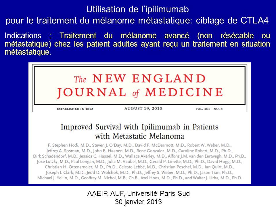 AAEIP, AUF, Université Paris-Sud 30 janvier 2013 Utilisation de lipilimumab pour le traitement du mélanome métastatique: ciblage de CTLA4 Indications