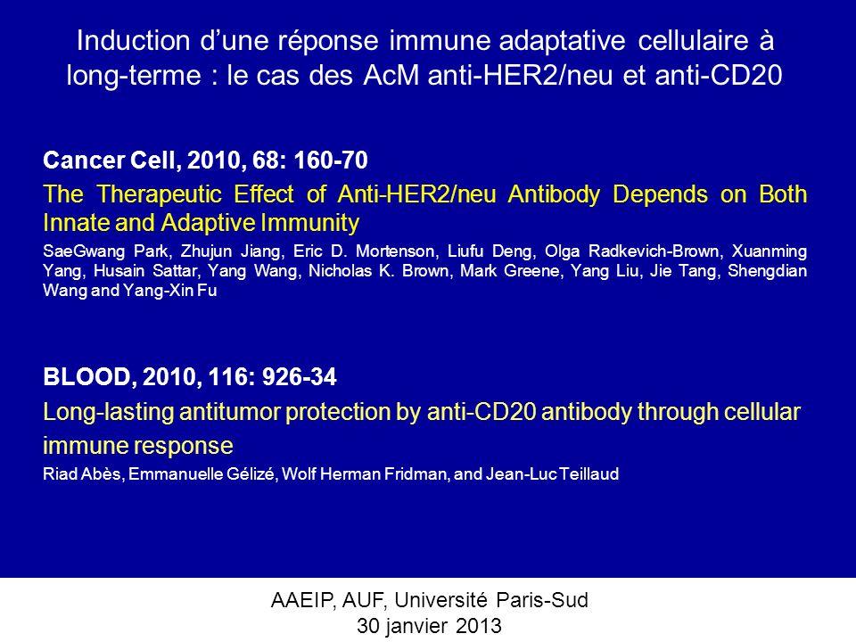AAEIP, AUF, Université Paris-Sud 30 janvier 2013 Induction dune réponse immune adaptative cellulaire à long-terme : le cas des AcM anti-HER2/neu et an