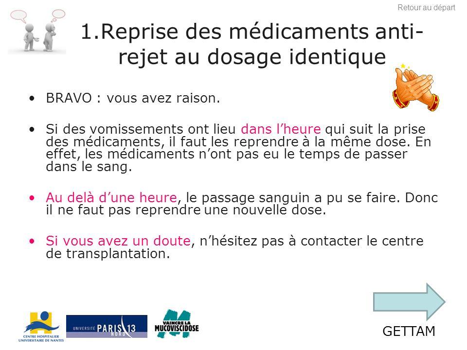 GETTAM 2 : ne rien faire et attendre la prise suivante Les médicaments anti-rejet nont pas eu le temps de passer dans le sang.