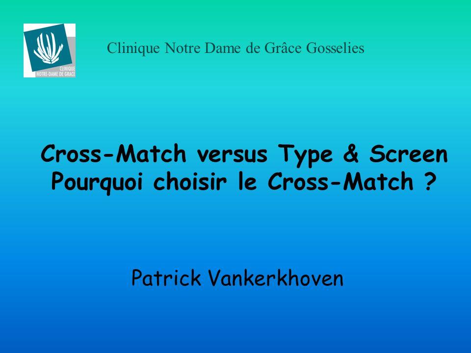 Clinique Notre Dame de Grâce Gosselies Cross-Match versus Type & Screen Pourquoi choisir le Cross-Match ? Patrick Vankerkhoven