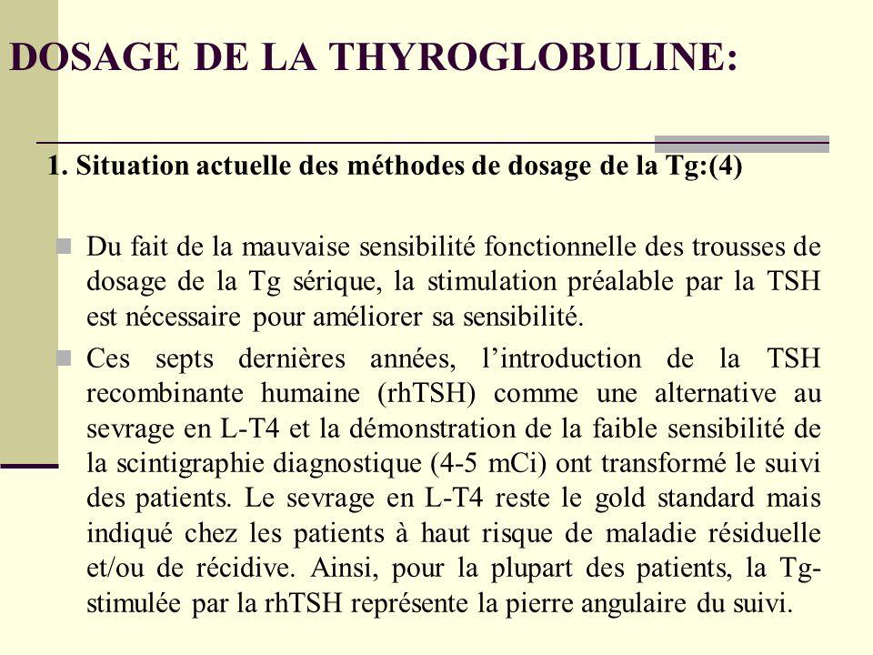 DOSAGE DE LA THYROGLOBULINE: Du fait de la mauvaise sensibilité fonctionnelle des trousses de dosage de la Tg sérique, la stimulation préalable par la TSH est nécessaire pour améliorer sa sensibilité.