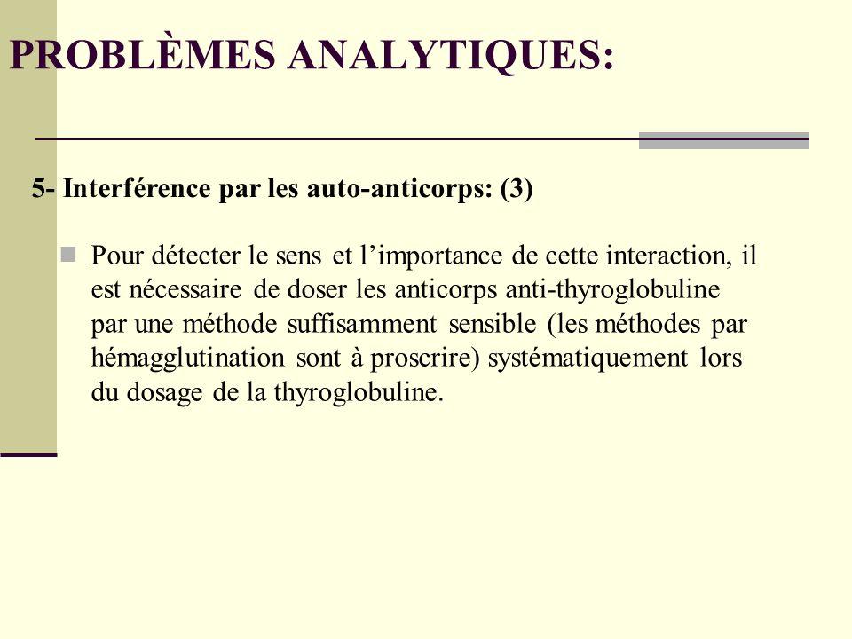 Pour détecter le sens et limportance de cette interaction, il est nécessaire de doser les anticorps anti-thyroglobuline par une méthode suffisamment sensible (les méthodes par hémagglutination sont à proscrire) systématiquement lors du dosage de la thyroglobuline.