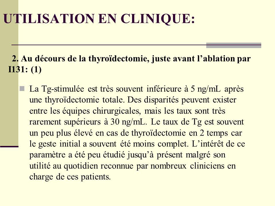 La Tg-stimulée est très souvent inférieure à 5 ng/mL après une thyroïdectomie totale.