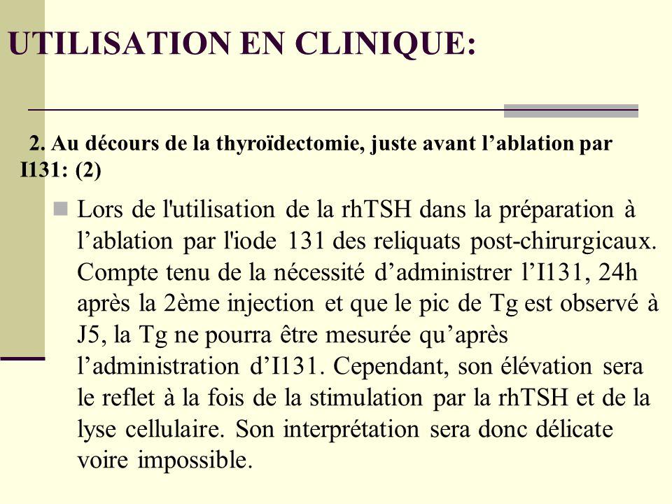 UTILISATION EN CLINIQUE: Lors de l utilisation de la rhTSH dans la préparation à lablation par l iode 131 des reliquats post-chirurgicaux.