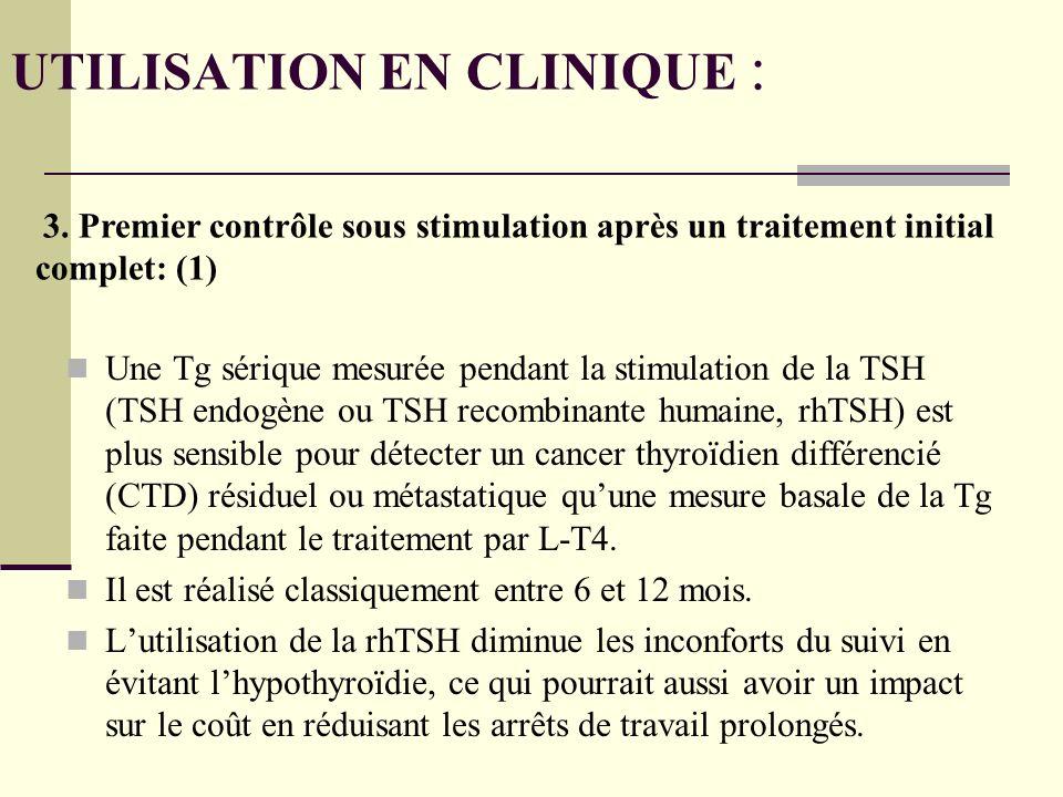 Une Tg sérique mesurée pendant la stimulation de la TSH (TSH endogène ou TSH recombinante humaine, rhTSH) est plus sensible pour détecter un cancer thyroïdien différencié (CTD) résiduel ou métastatique quune mesure basale de la Tg faite pendant le traitement par L-T4.