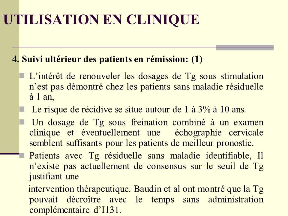 Lintérêt de renouveler les dosages de Tg sous stimulation nest pas démontré chez les patients sans maladie résiduelle à 1 an, Le risque de récidive se situe autour de 1 à 3% à 10 ans.