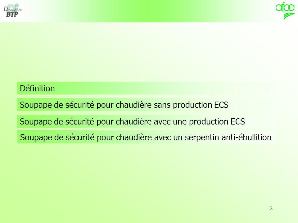 2 Soupape de sécurité pour chaudière sans production ECS Définition Soupape de sécurité pour chaudière avec une production ECS Soupape de sécurité pour chaudière avec un serpentin anti-ébullition