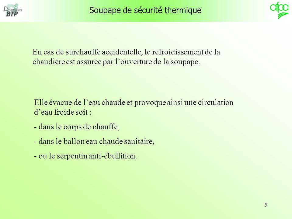 5 En cas de surchauffe accidentelle, le refroidissement de la chaudière est assurée par louverture de la soupape.