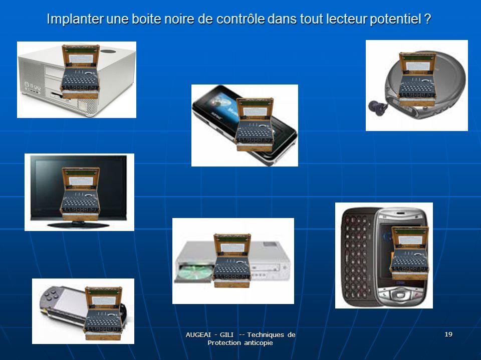 AUGEAI - GILI -- Techniques de Protection anticopie 19 Implanter une boite noire de contrôle dans tout lecteur potentiel
