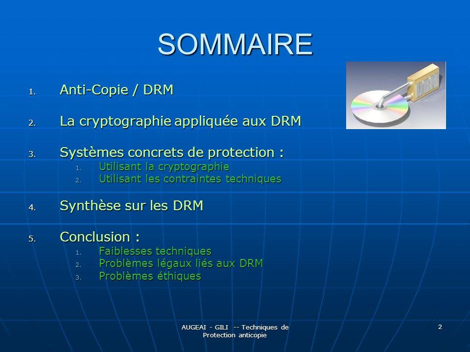 AUGEAI - GILI -- Techniques de Protection anticopie 2 SOMMAIRE 1.