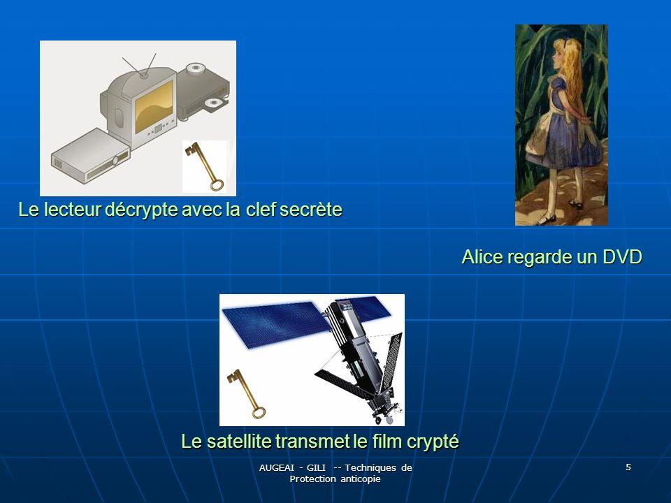 AUGEAI - GILI -- Techniques de Protection anticopie 16 Systèmes concrets de protection : Utilisant les contraintes techniques APS & Colorstripe - Protection analogique APS & Colorstripe - Protection analogique Joue sur les différences de HardWare Téléviseurs/Magnétoscopes :Joue sur les différences de HardWare Téléviseurs/Magnétoscopes : Perturbe le signal enregistré par le magnétoscope, mais pas celui recu par le téléviseur, qui dispose de circuits de réglage automatique Luminosité/Couleur Perturbe le signal enregistré par le magnétoscope, mais pas celui recu par le téléviseur, qui dispose de circuits de réglage automatique Luminosité/Couleur APS : modifie la luminosité entre 2 imagesAPS : modifie la luminosité entre 2 images Colorstripe : perturbation du signal couleurColorstripe : perturbation du signal couleur Problèmes :Problèmes : Empêche la copie privée pour les utilisateurs légitimes Empêche la copie privée pour les utilisateurs légitimes Neutralisé par des petits gadgets disponibles sur Internet Neutralisé par des petits gadgets disponibles sur Internet