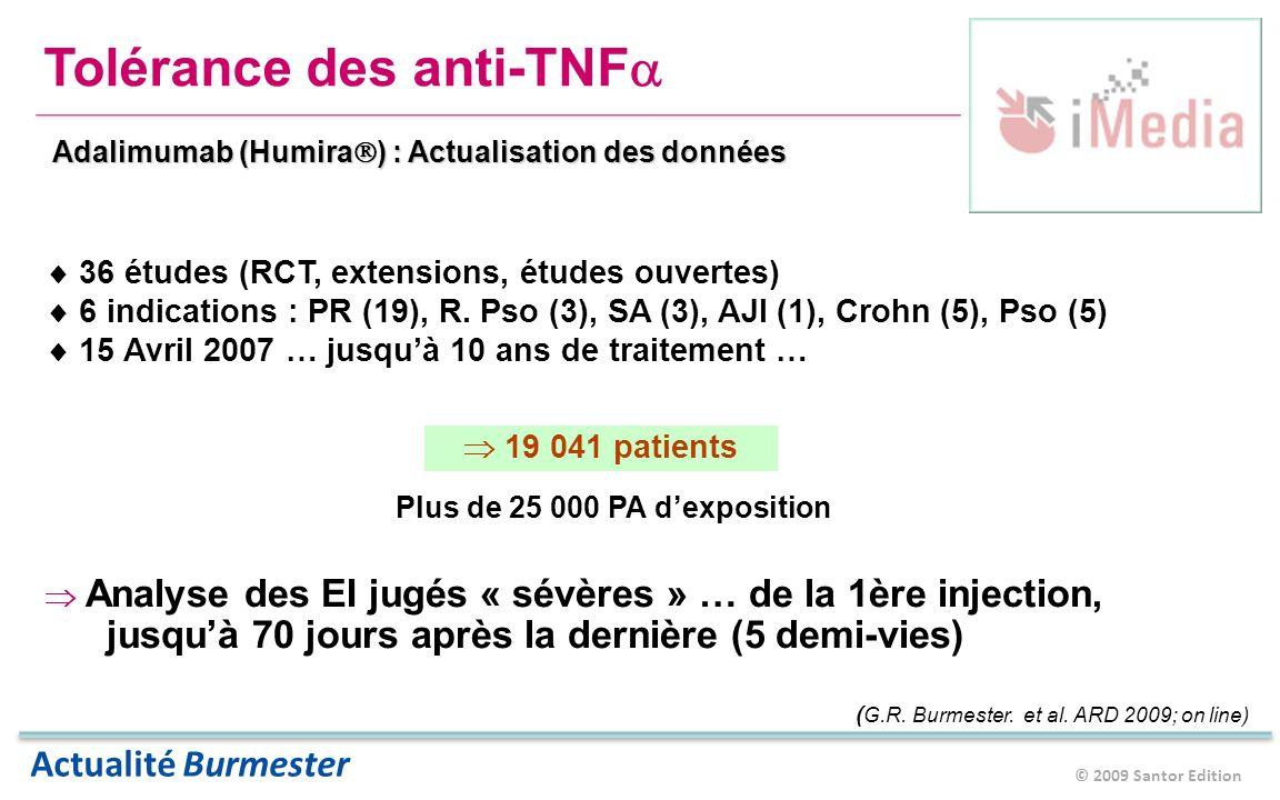 © 2009 Santor Edition Actualité Burmester Tolérance des anti-TNF Adalimumab (Humira ) : Actualisation des données 36 études (RCT, extensions, études ouvertes) 6 indications : PR (19), R.