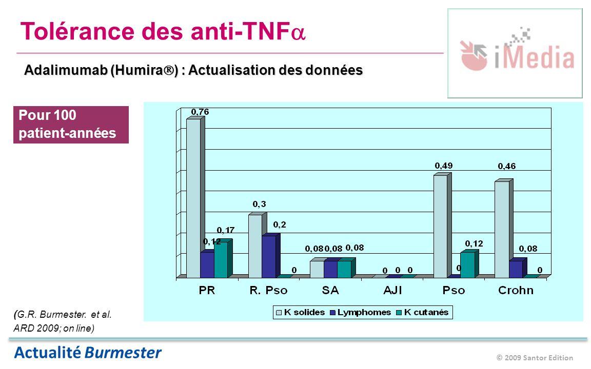 © 2009 Santor Edition Actualité Burmester Tolérance des anti-TNF Adalimumab (Humira ) : Actualisation des données Pour 100 patient-années ( G.R.