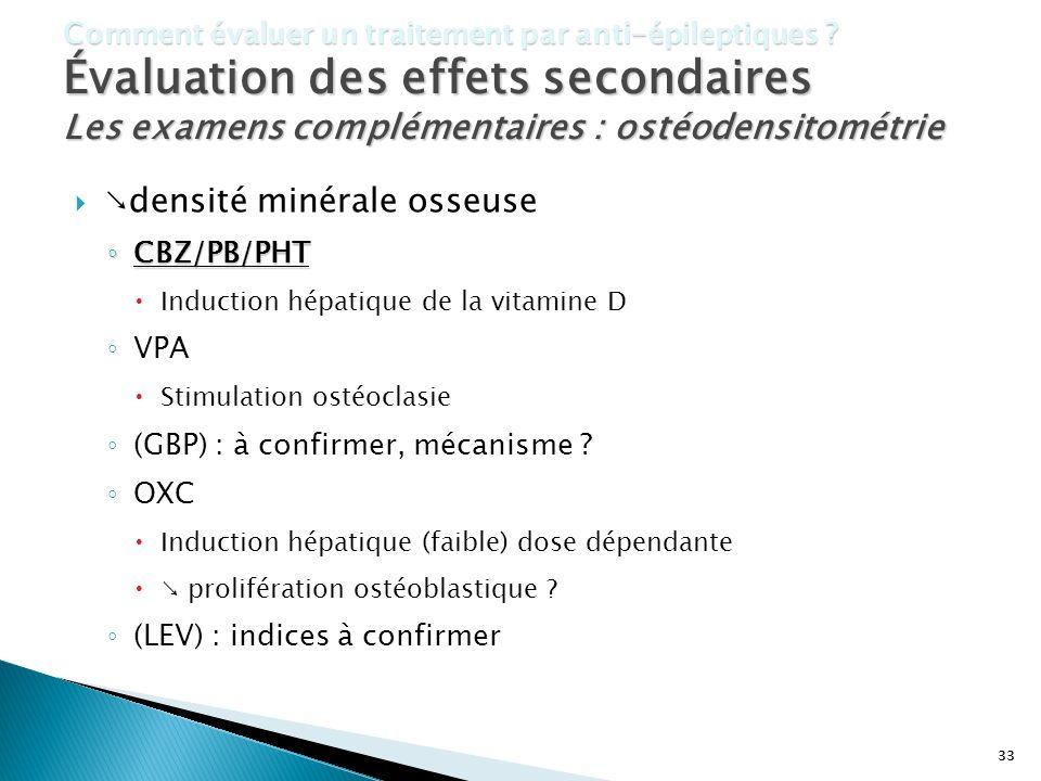 33 Comment évaluer un traitement par anti-épileptiques ? Évaluation des effets secondaires Les examens complémentaires : ostéodensitométrie densité mi