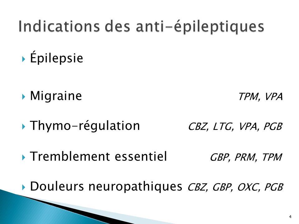 4 Épilepsie Migraine TPM, VPA Thymo-régulation CBZ, LTG, VPA, PGB Tremblement essentiel GBP, PRM, TPM Douleurs neuropathiques CBZ, GBP, OXC, PGB 4