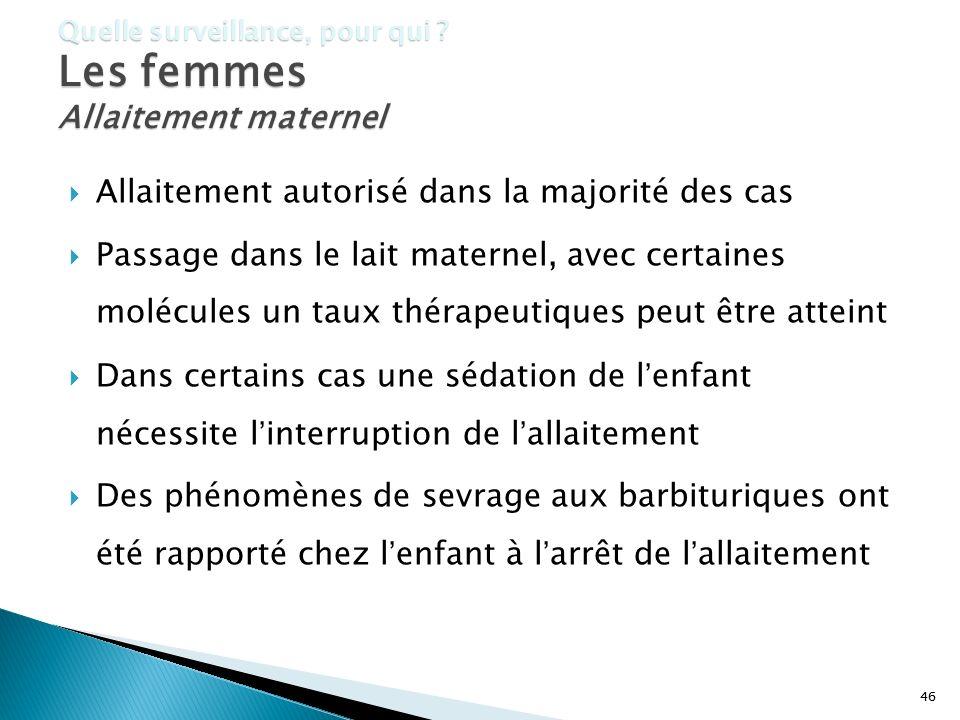 46 Quelle surveillance, pour qui ? Les femmes Allaitement maternel Allaitement autorisé dans la majorité des cas Passage dans le lait maternel, avec c