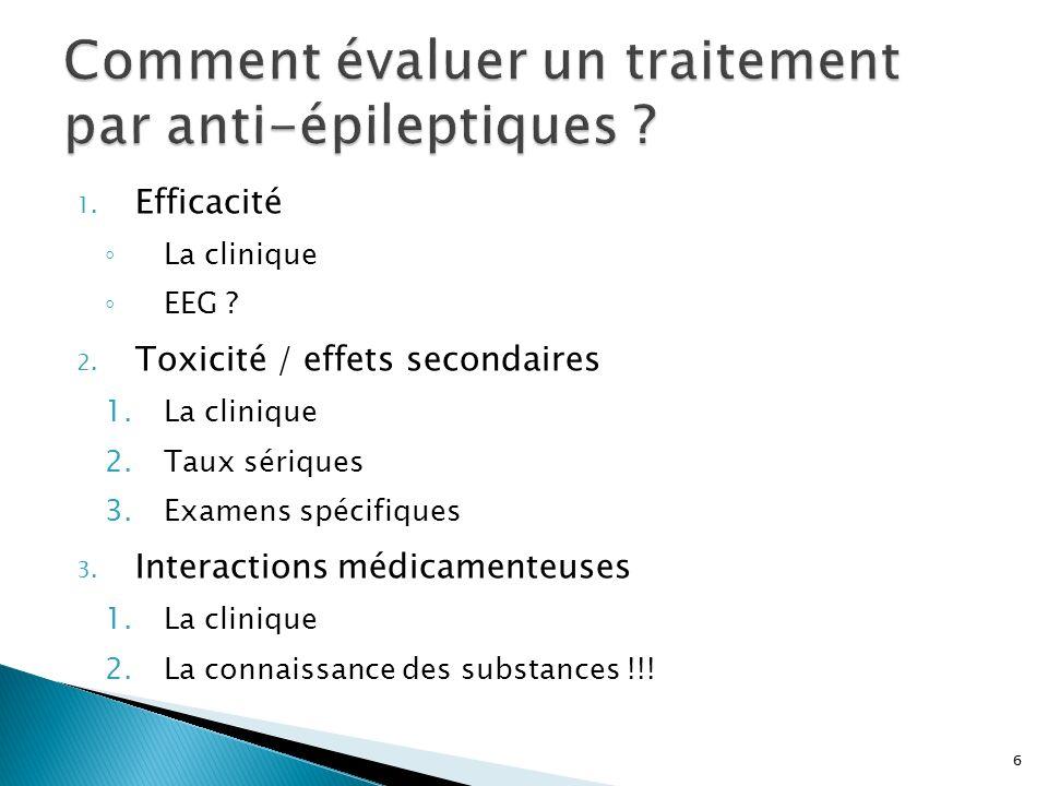 6 1. Efficacité La clinique EEG ? 2. Toxicité / effets secondaires 1.La clinique 2.Taux sériques 3.Examens spécifiques 3. Interactions médicamenteuses